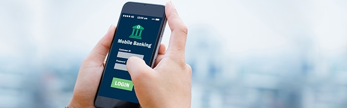 close up of the login screen of a mobile banking app