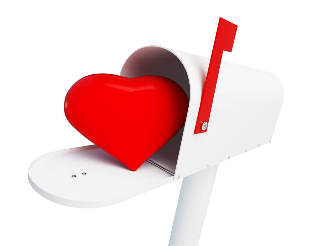 Graphic of a heart in an open mailbox